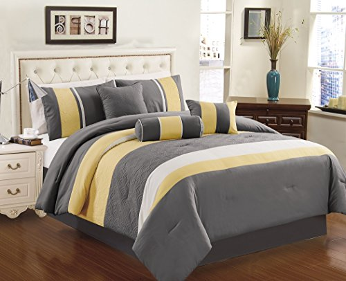 Chezmoi Collection 7 Piece Sunvale Yellow Grey White Comforter Bedding Set  (California King)
