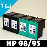Remanufactured Ink Cartridge Replacement for HP 95, 98 (C8766WN) (Black, Multicolor, 4-Pack)