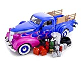 1937 Studebaker Pickup W/Access 1/24 Diecast Blue/Flame