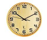 Funk Wanduhr WOOD Holz Funkwanduhr Funkuhr Uhr Küchenuhr Kaminuhr Bürouhr HOLZMOTIV Funk Wanduhr Funk Uhr Modernes Klassik Design Buche Optik Aus Holz Große Zahlen
