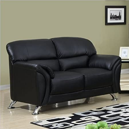 Global Furniture Vinyl Matching Loveseat with Black/Chrome Legs