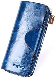 Borgasets Women\'s Organizer Wallet Genuine Leather Large Trifold Zipper Purse Blue