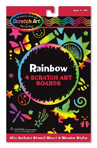 Rainbow: Scratch Art 4-Sheet Pack + FREE Melissa & Doug Scratch Art Mini-Pad Bundle [58018] - 1