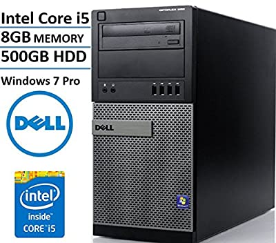 Dell Optiplex 990 Tower Business Desktop Computer, Intel Quad Core i5-2400 up to 3.4Ghz CPU, 8GB DDR3 RAM, 500GB HDD, DVD, VGA, Windows 7 Professional (Certified Refurbished)