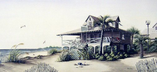 """A Coastal Breeze"" - Limited Edition Poster Print of a Pawleys' Island South Carolina Beach House by Artist Patricia Hobson, Image Size: 10.75 X 23 Inches, Ready For Framing."
