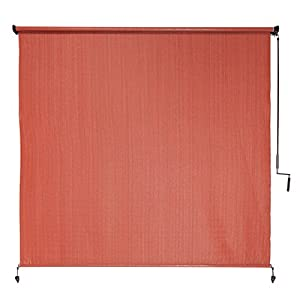 Coolaroo Exterior Cordless Roller Shade 6ft By 6ft Terra Cotta Patio Lawn Garden
