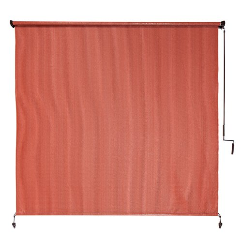 Coolaroo exterior cordless roller shade 6ft by 6ft terra cotta budget window blinds Cordless exterior sun shades