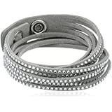 Swarovski Damen-Armband Slake Grey 37.0 cm Alcantara hellgrau Kristall klar 1179236