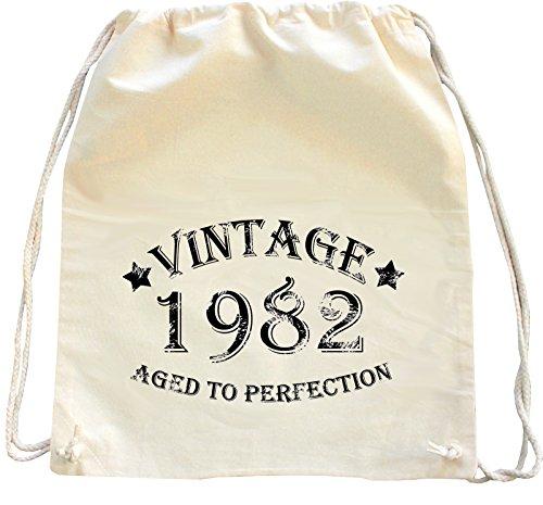 Mister Merchandise Zaino Borsa Sacco Vintage 1982 - Aged to Perfection , Colore: Naturale