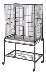 HQ 32x21 Flight Bird Cage & Stand for Finch & Small Birds-Pure White