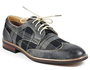 Ferro Aldo M-19266A Grey Mens Lace Up Plaid Dress Classic Shoes Size 12 D(M)