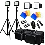 Julius Studio 2x 216 LED light kit Dimmable Power Panel with Color Filters Camera - Video Kit - for Canon - Nikon - Sony and other Digital SLR Cameras - Li-Ion Battery Charger - Premium Carry Bag JGG2502