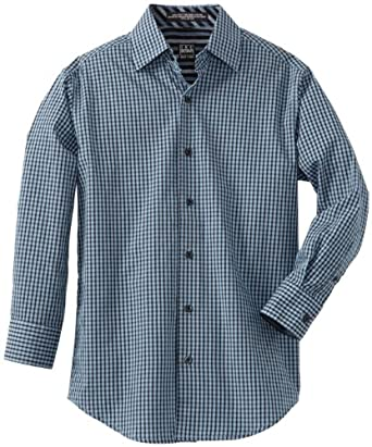 Ike Behar Big Boys' Great Fit Long Sleeve Plaid Woven Shirt, Blue, Small