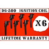6 IGNITION COILS DG500 ESCAPE,FIVE HUNDRED,FREESTYLE,TA...