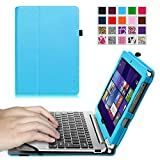Fintie Acer Aspire Switch 10 SW5 Folio Case, 2-in-1 Premium Vegan Leather Keyboard Portfolio Stand Cover For Acer Aspire Switch 10 SW5 (SW5-012 / SW5-011) 10.1-Inch Tablet PC, Blue