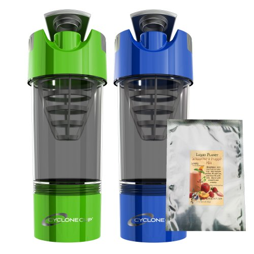 Cyclone Cup Set Of 2 With Liquid Planet Smoothie Mix Sample (Blue And Green)