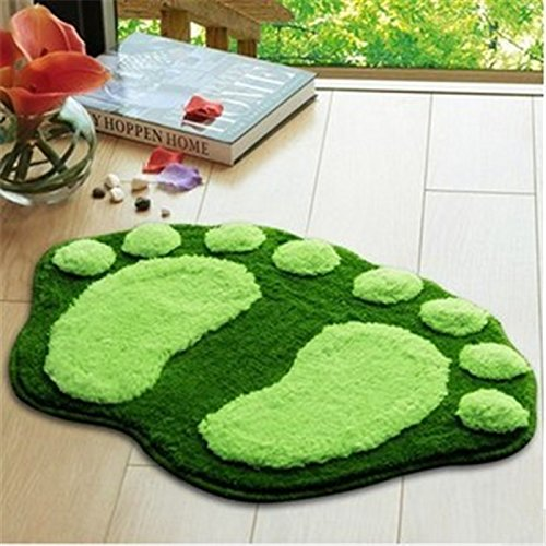 Super Soft Nonslip Microfiber Lovely Flocking Big Feet Pad Floor Mat Bedroom Area Rug Carpet 58.5*38.5cm, 5 Colors Available (Green)