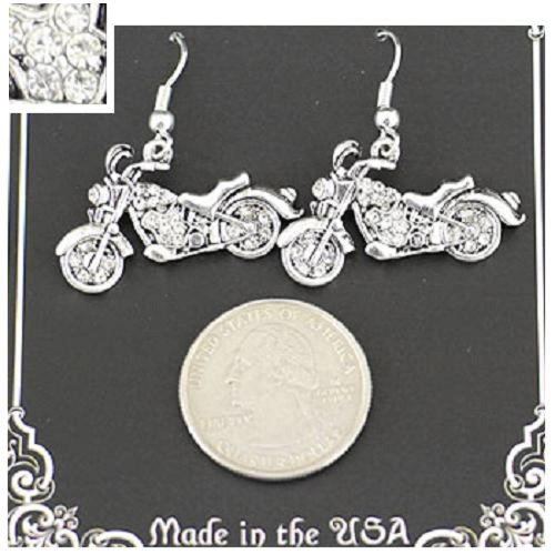 Earrings ~ Motorcycles ~ w/Rhinestones