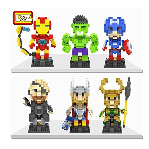 LOZ The Avengers Set Pack of 6 Iron Man Captain America Thor Loki Hulk and Fury Nanoblock Educational Toy 1880pcs