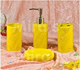 Bathroom Accessory Sets - Golden clouds style - yellow ceramic bathroom four-pieces set / bathroom suite / home accessories