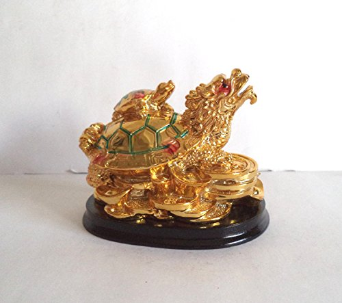 Tej Gifts Tej Gifts Feng Shui Dragon Headed Turtle with Baby Tortoise golden