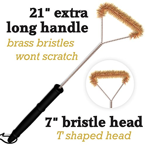 Do-Be Grill Brush For BBQ-Brass Bristles-Safe Cleaner For Porcelain Cast Iron or Steel Grates-Extra Long Handle- For All Gas and Charcoal Grills Including Weber Traeger Green Egg Foreman etc. (Kenmore Big Brush compare prices)