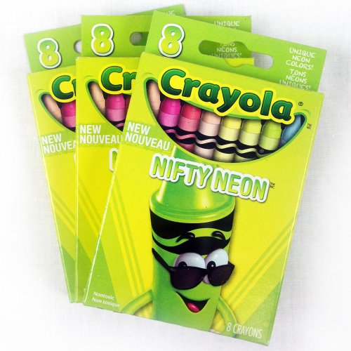 Crayola Nifty Neon Crayons 8 Count: 3 Pack (121587) back-1016583
