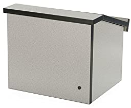 Displays2go 12.6 Inch H Tabletop Portable Podium, Folding, Angled Surface with Lip, Hollow Storage Area, Gray (LCTFLDNGOG)