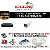 CORE 4-CH FULL HD DVR 2-MP ( 1080P). WITH 1-TB HARD DISK , 2-MP BULLET 1-PC,4-CH POWER SUPPLY , 3+1 WIRE ROLL, WITH BNC /DC CONNECTORS COMBO PACK.