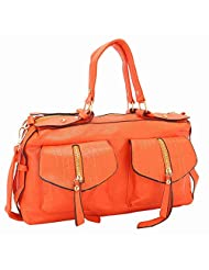 NIROSHA Synthetic Leather Orange Fashion Handbag For Women - B0174YJRAI