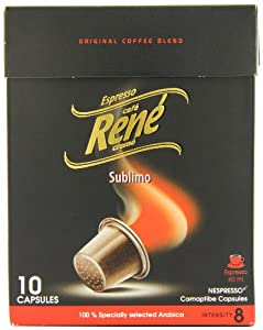 Cafe Rene Espresso Sublimo Nespresso Compatible Capsules (Pack of 4, Total 40 Capsules)