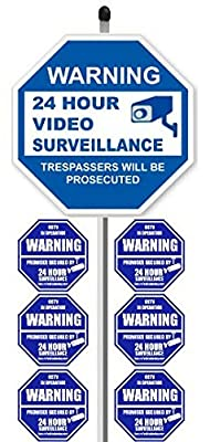 """1 """"24 Hour Video Surveillance"""" Yard Sign (9"""" x 9"""") with 36"""" Long Stake Post with 6 Security Alarm System Stickers (White & Blue)"""