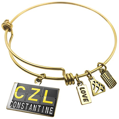 Expandable Wire Bangle BraceletCZL Airport Code for Constantine, Neonblond (Constantine Wire compare prices)
