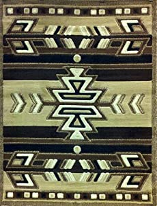 South West Native American Area Rug 4 Ft. X 5 Ft. 3 In. Beige Design #113
