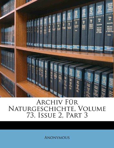 Archiv Für Naturgeschichte, Volume 73, Issue 2, Part 3