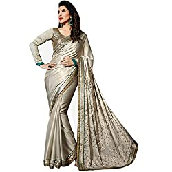 Latest Wize Sparkling Grey Color Shimmer Satin Chiffon Embroidered Saree