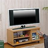 【完成品】 キャスター付き 木製 テレビ台 ロータイプ テレビボード ディスプレイ収納付き 台 ナチュラル