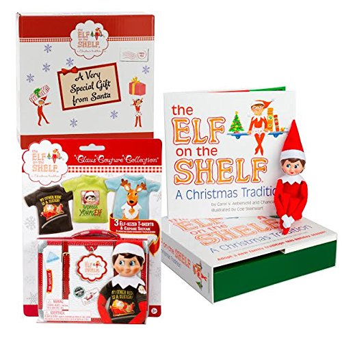Elf on the Shelf Blue Eyed Girl with Official 3pc T-Shirt Outfit Collection - Direct From North Pole in Limited Edition Santa Gift (Funny Things To Dress Up As)