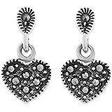 Ornami Sterling Silver Marcasite Set Heart Drop Stud Earrings