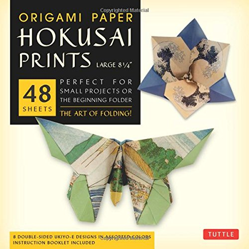 """Origami Paper - Hokusai Prints - Large 8 1/4"""" - 48 Sheets: (Tuttle Origami Paper)"""