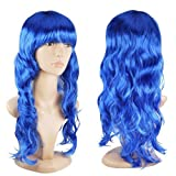 Women's Sexy Long Wave Curly Fancy Dress Wigs Cosplay Costume Ladies Full Wig Xmas, Haloween, Event and Surprise Party - Blue