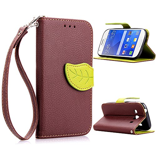 G357FZ Case,XYX [Kickstand] Galaxy Ace Style Case [Brown, Leaf Buckle],[Card Slot][Flip][Slim Fit][Wallet][Lanyard] Premium Protective Case for Samsung Galaxy Ace Style SM-G357FZ [Brown] (Galaxy Ace Kickstand Cases compare prices)
