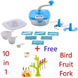 Jony 10_in_1_Blue Manual Food Processor (Blue) By A TO Z Sales-AZ5021 With Bird Fruit Fork