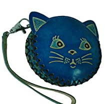 Beauty Kitty Design,real Leather Coin Purse,an Unique Gift for All. NEW !! (Blue)