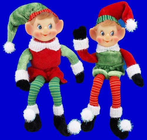 "9"" Candy Striped Elf - 1"