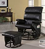 Glider Rocker Recliner with Ottoman Black Leatherette