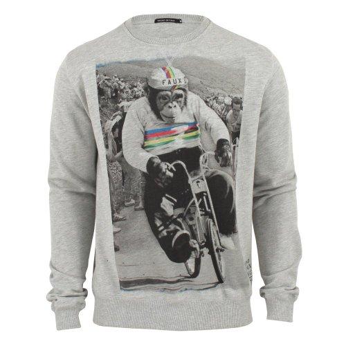Friend Or Faux Mens Chimpion Tour Sweatshirt Grey-Marl Small