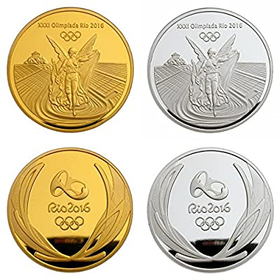 A Pair of 2 Brazil Rio 2016 Olympic Winners Gold & Silver Medal Commemorative Coins Souvenir Token