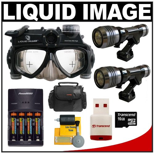 Liquid Image Wide Scuba Series Mid-Size Underwater High Definition Digital Camera Mask HD with (2) LED Torches + 16GB Card + Batteries & Charger + Case + Cleaning Kit