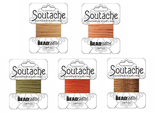 Beadsmith Soutache Braided Rayon Cord / Trim Bundle: 5 Colors, 3mm Wide, 3 Yds per color 'Peachy Sunset